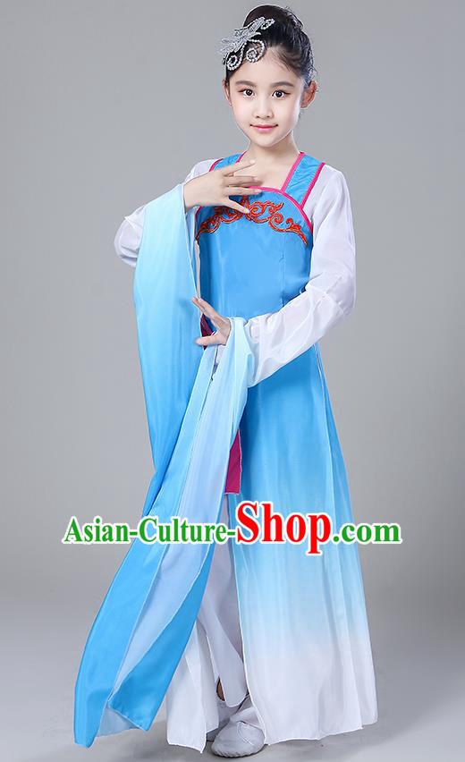 Chinese Traditional Folk Dance Costumes Children Classical Dance Yangko Water Sleeve Blue Clothing for Kids