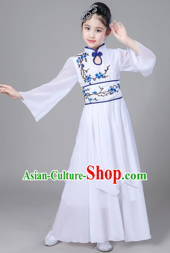 Chinese Traditional Folk Dance Costumes Children Classical Dance Embroidered Blue Plum Blossom Clothing for Kids