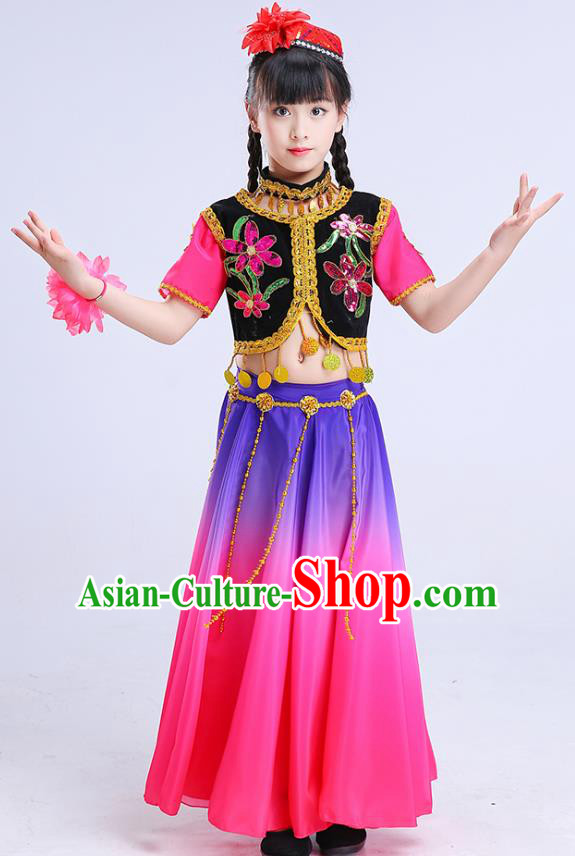 Chinese Traditional Folk Dance Costumes Uyghur Nationality Dance Pink Dress Children Classical Dance Clothing for Kids