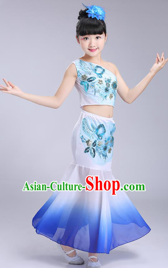 Chinese Traditional Folk Dance Costumes Dai Nationality Pavane Royalblue Dress Children Classical Peacock Dance Clothing for Kids
