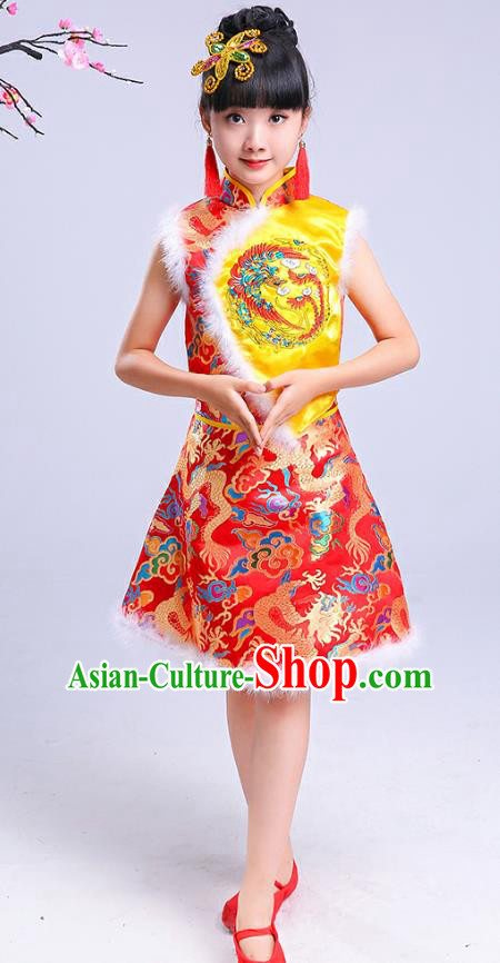 Chinese Traditional Folk Dance Yangko Costumes Children Classical Dance Fan Dance Clothing for Kids