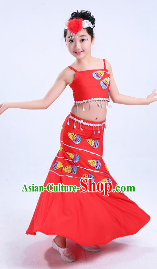 Chinese Traditional Folk Dance Costumes Children Dai Nationality Peacock Dance Classical Dance Red Dress for Kids