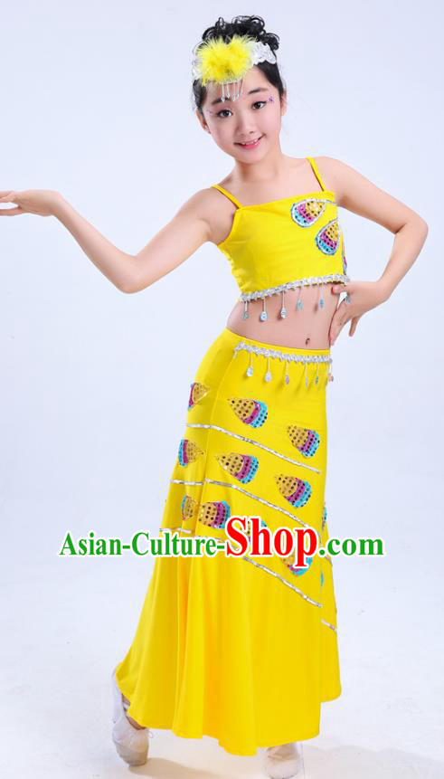 Chinese Traditional Folk Dance Costumes Children Dai Nationality Peacock Dance Classical Dance Yellow Dress for Kids
