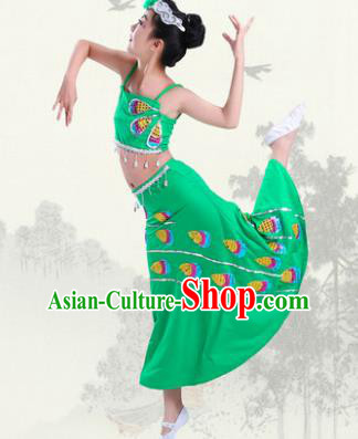 Chinese Traditional Folk Dance Costumes Children Dai Nationality Peacock Dance Classical Dance Green Dress for Kids