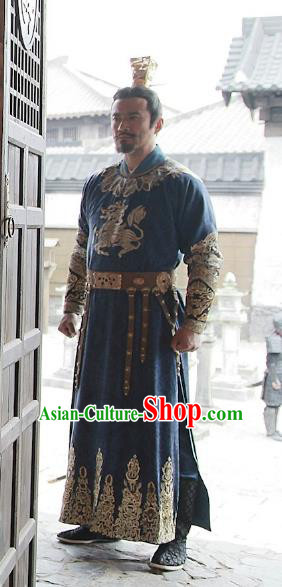 Chinese Teleplay Tribes and Empires Storm of Prophecy Ancient Emperor Embroidered Costumes for Men