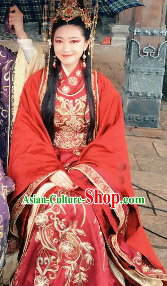Teleplay Tribes and Empires Storm of Prophecy Chinese Ancient Crown Princess Embroidered Wedding Costumes and Headpiece Complete Set