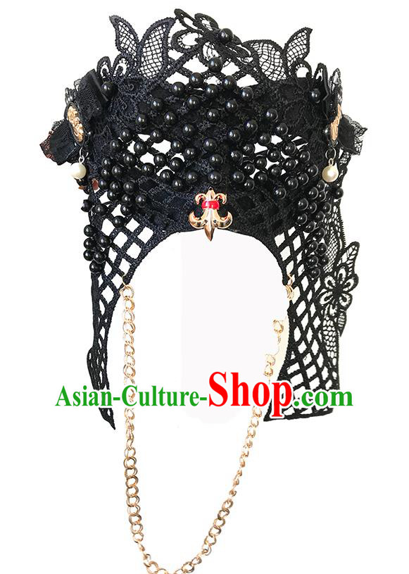 Halloween Catwalks Venice Face Mask Fancy Ball Black Beads Masks Christmas Exaggerated Feather Masks