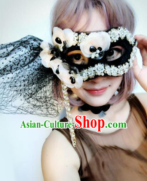 Halloween Catwalks Venice Face Mask Fancy Ball Flowers Masks Christmas Exaggerated Feather Masks