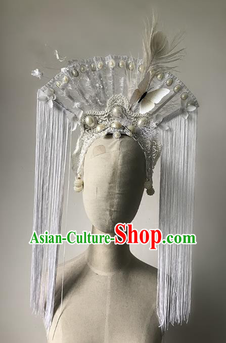 Top Grade Catwalks Gothic Hair Accessories Exaggerated Lace Butterfly Headdress Halloween Modern Fancywork Headwear