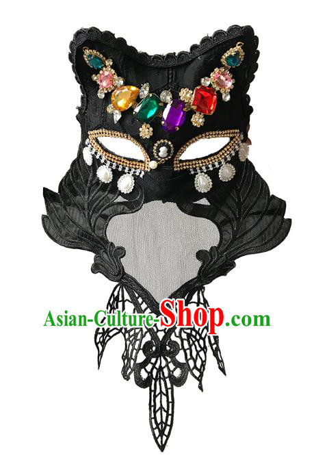 Halloween Catwalks Venice Face Mask Fancy Ball Crystal Cats Masks Christmas Exaggerated Feather Masks