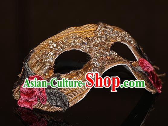 Halloween Catwalks Venice Face Mask Fancy Ball Embroidered Golden Masks Christmas Exaggerated Feather Masks