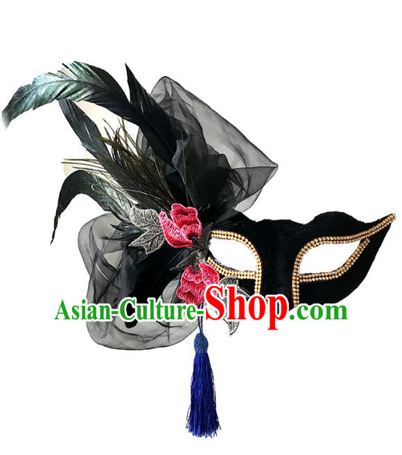 Halloween Catwalks Venice Face Mask Fancy Ball Embroidered Black Feather Masks Christmas Exaggerated Feather Masks