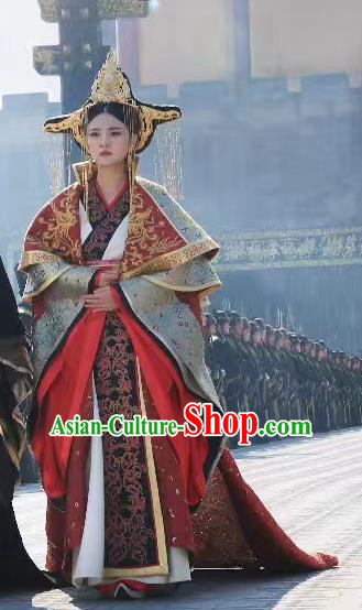 Chinese Ancient Queen Hanfu Dress Northern Zhou Dynasty Empress Dugu Historical Costume and Headpiece Complete Set
