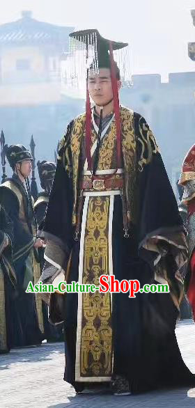 Chinese Ancient Monarch Imperial Robe Northern Zhou Dynasty Emperor Yuwen Yu Historical Costume and Headpiece Complete Set