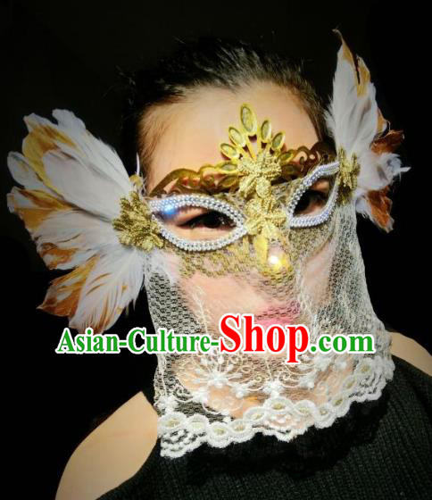Halloween Handmade White Feather Face Mask Fancy Ball Catwalks Masks Christmas Exaggerated Feather Masks