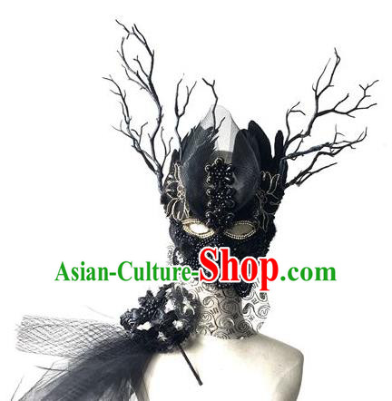 Halloween Handmade Black Feather Face Mask Fancy Ball Catwalks Masks Christmas Exaggerated Feather Masks