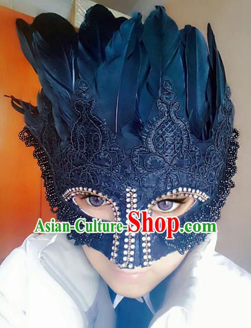 Halloween Handmade Face Mask Fancy Ball Catwalks Black Feather Masks Christmas Exaggerated Feather Masks