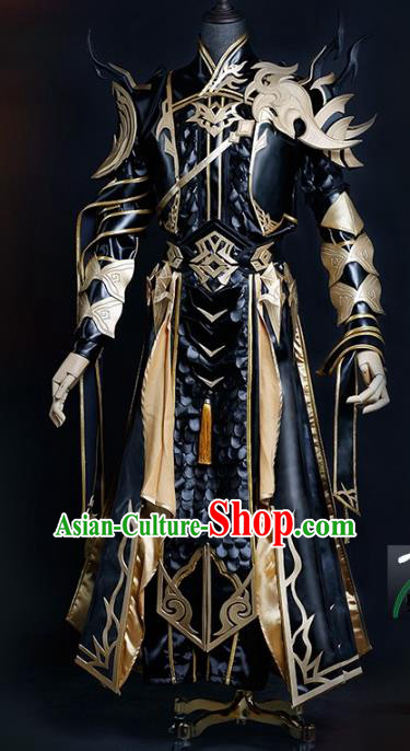 China Ancient Cosplay Chivalrous Expert Swordsman Costumes Black Armour Chinese Traditional Knight-errant Clothing for Men