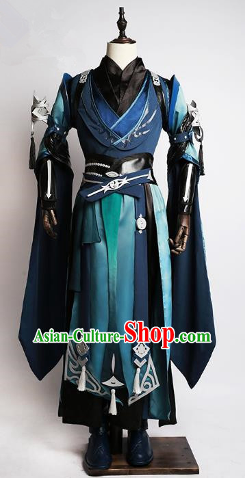 Traditional China Cosplay Swordsman Blue Costumes Chinese Ancient Kawaler Knight-errant Clothing for Men