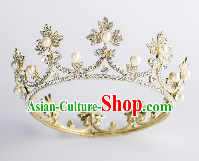 Baroque Bride Hair Accessories Classical Wedding Crystal Royal Crown Retro Round Imperial Crown Headwear for Women