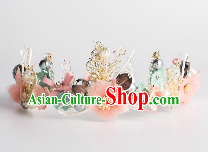 Baroque Bride Hair Accessories Pink Flowers Royal Crown Classical Wedding Princess Imperial Crown for Women