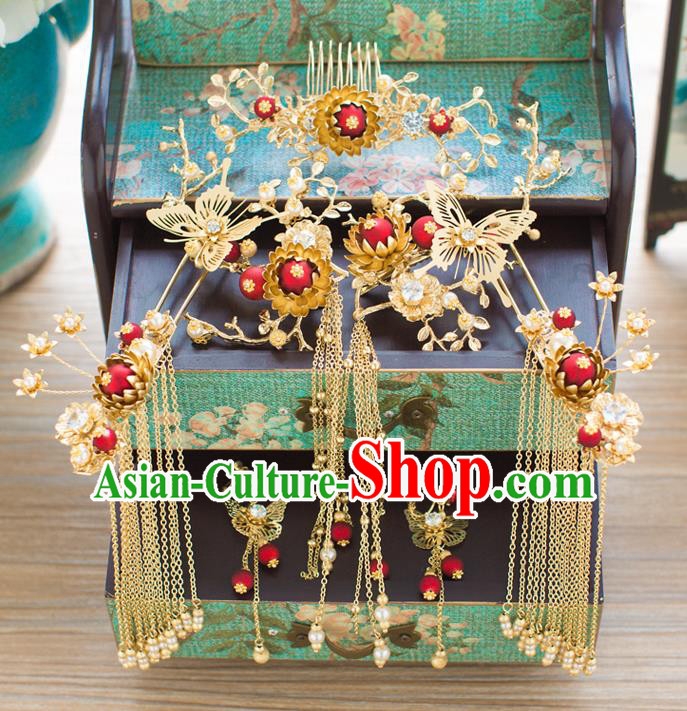 Chinese Traditional Wedding Hair Accessories Ancient Xiuhe Suit Phoenix Coronet Hairpins Step Shake for Women