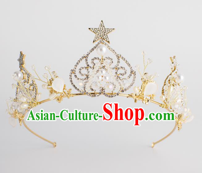 Baroque Bride Hair Accessories Pearls Royal Crown Classical Wedding Princess Imperial Crown for Women