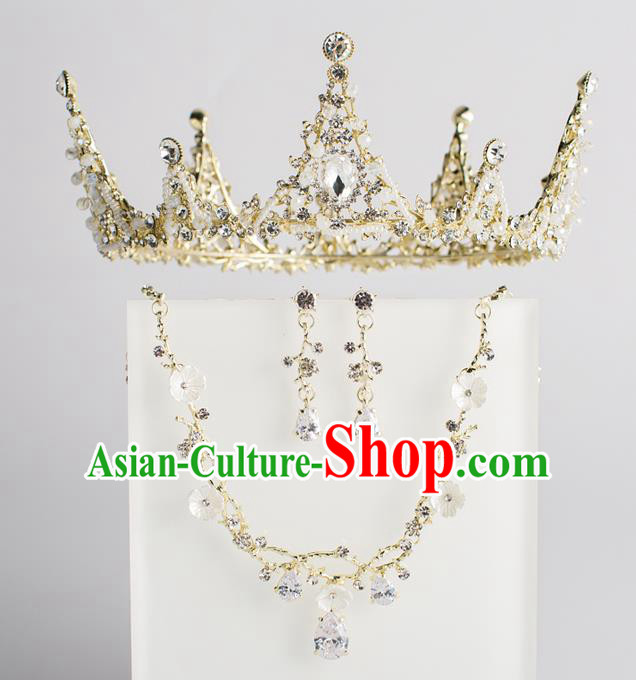 Baroque Bride Hair Accessories Classical Wedding Hair Clasp Golden Crystal Imperial Crown Headwear for Women