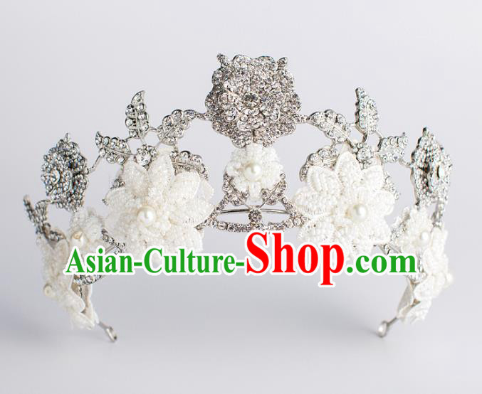 Baroque Bride Hair Accessories White Flowers Royal Crown Wedding Princess Classical Imperial Crown for Women