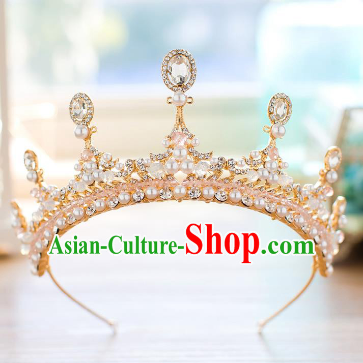 Baroque Bride Hair Accessories Princess Zircon Royal Crown Wedding Classical Pearls Imperial Crown for Women