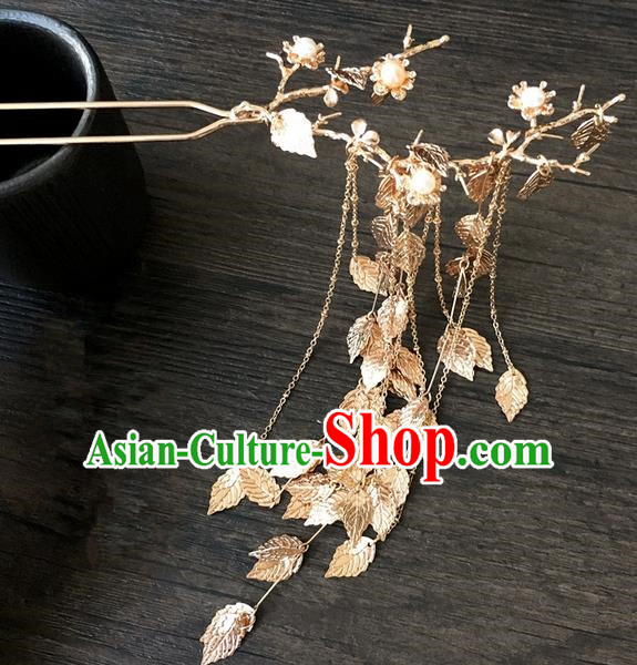 Traditional Handmade Chinese Ancient Classical Hair Accessories Hairpins Golden Leaf Tassel Hair Clips for Women