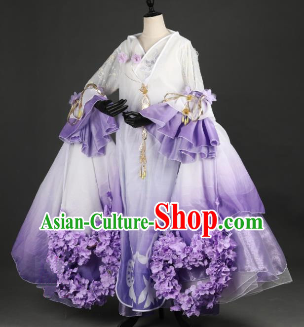 Chinese Ancient Young Lady Costume Cosplay Female Knight-errant Purple Dress Hanfu Clothing for Women