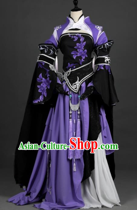 Chinese Ancient Heroine Costume Cosplay Female Knight-errant Swordswoman Purple Dress Hanfu Clothing for Women