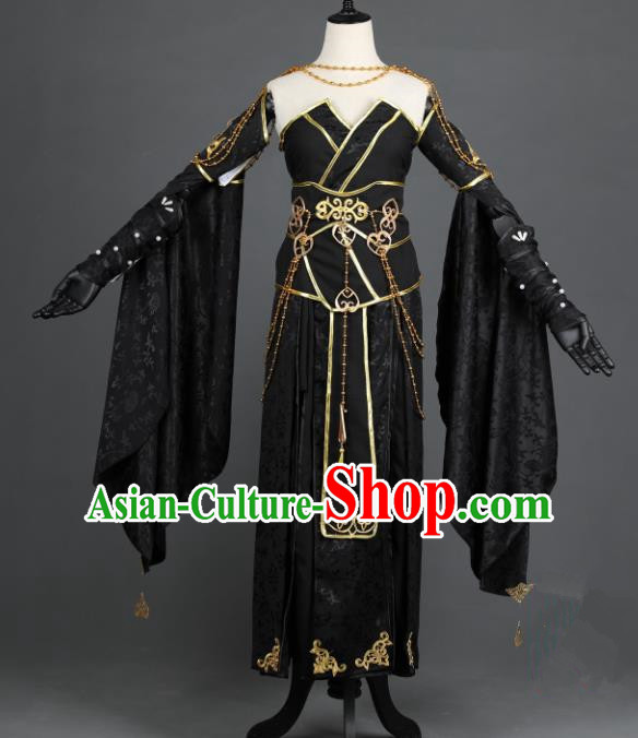 Chinese Ancient Heroine Costume Cosplay Female Knight-errant Swordswoman Black Dress Hanfu Clothing for Women