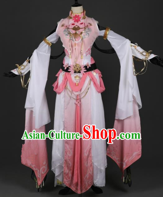 Chinese Ancient Knight-errant Heroine Costume Cosplay Swordswoman Pink Dress Hanfu Clothing for Women