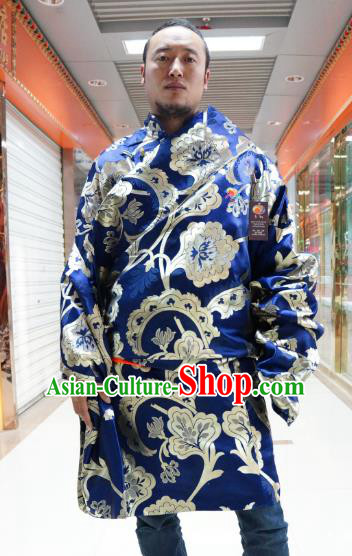 Chinese Traditional Zang Nationality Blue Tibetan Robe, China Tibetan Ethnic Heishui Dance Costume for Men