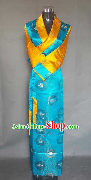 Chinese Traditional Zang Nationality Blue Brocade Dress, China Tibetan Ethnic Heishui Dance Costume for Women