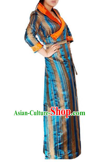Chinese Traditional Zang Nationality Blue Dress, China Tibetan Ethnic Heishui Dance Costume for Women