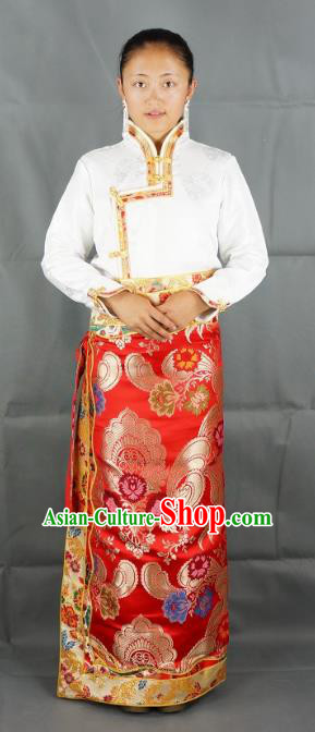 Chinese Traditional Zang Nationality Red Satin Bust Skirt, China Tibetan Ethnic Heishui Dance Costume for Women