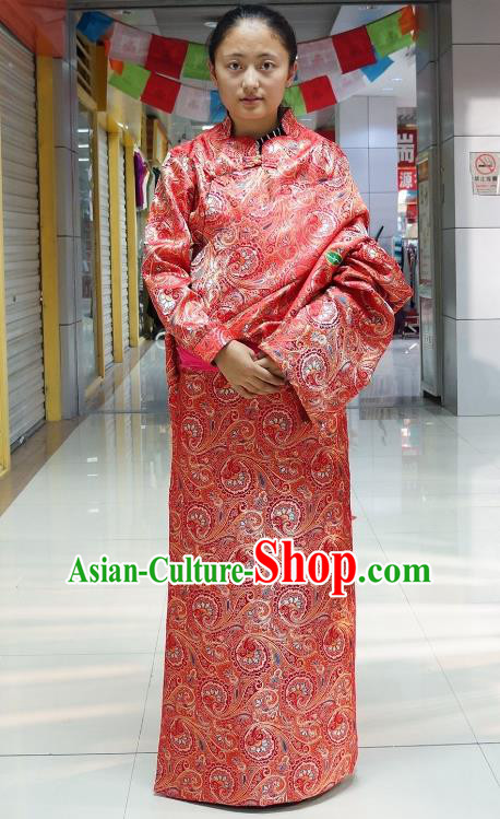 Chinese Zang Nationality Red Tibetan Robe, China Traditional Tibetan Ethnic Heishui Dance Costume for Women