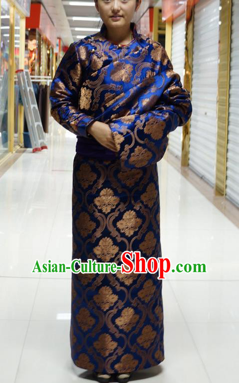 Chinese Zang Nationality Royalblue Satin Tibetan Robe, China Traditional Tibetan Ethnic Heishui Dance Costume for Women