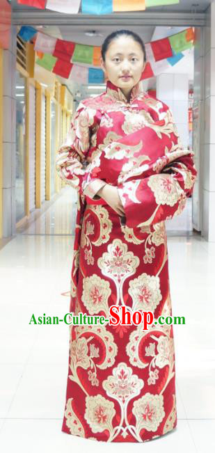 Chinese Zang Nationality Red Brocade Tibetan Robe, China Traditional Tibetan Ethnic Heishui Dance Costume for Women
