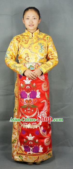 Chinese Zang Nationality Red Brocade Tibetan Bust Skirt, China Traditional Tibetan Ethnic Heishui Dance Costume for Women