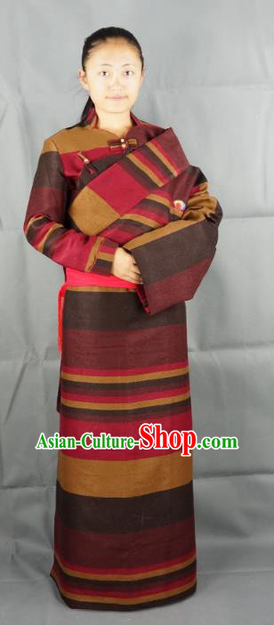 Chinese Zang Nationality Red Woolen Tibetan Robe, China Traditional Tibetan Ethnic Heishui Dance Costume for Women
