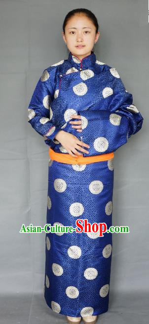 Chinese Zang Nationality Navy Tibetan Robe, China Traditional Tibetan Ethnic Heishui Dance Costume for Women
