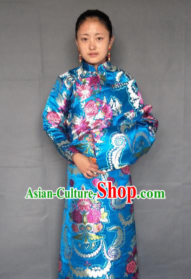 Chinese Zang Nationality Blue Tibetan Robe, China Traditional Tibetan Ethnic Heishui Dance Costume for Women