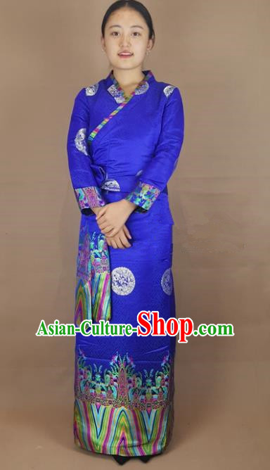 Chinese Zang Nationality Blue Brocade Dress, China Traditional Tibetan Ethnic Heishui Dance Costume for Women