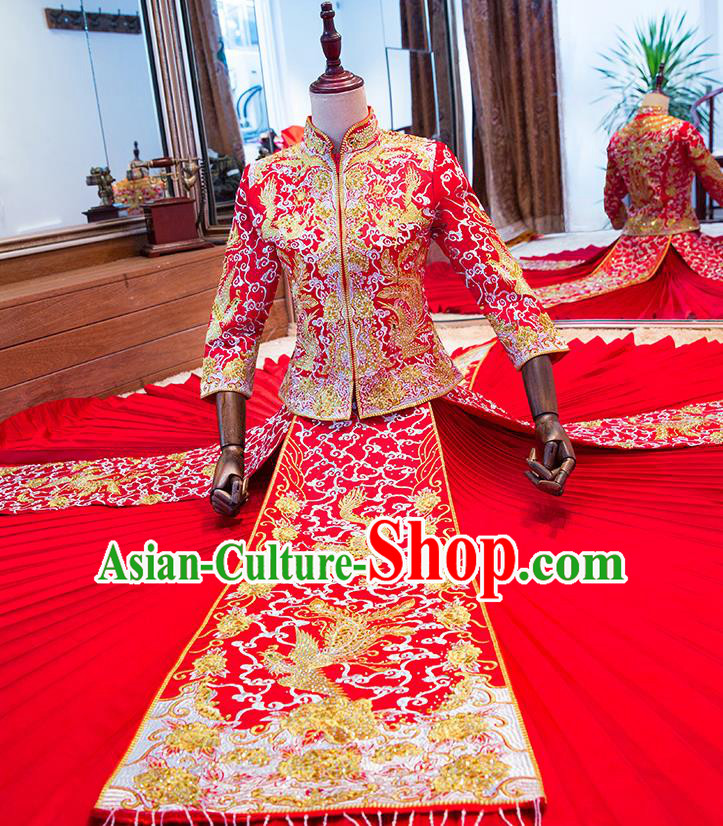 Chinese Traditional Wedding Toast Costume Ancient Bride Embroidered Xiuhe Suit Red Full Dress for Women