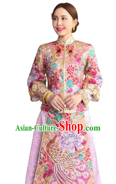 Chinese Traditional Wedding Toast Costume Ancient Bride Embroidered Beads Xiuhe Suit Full Dress for Women