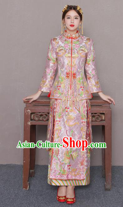 Chinese Traditional Wedding Bottom Drawer Ancient Bride Costume Embroidered Xiuhe Suit Pink Full Dress for Women